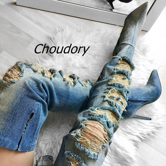 2017 Latest Style Scuffed Up Blue Denim Thigh High Boots Pointy Stiletto Heel Shoes Fashion Washed Jeans Over Keen High Boots men s cowboy jeans fashion blue jeans pant men plus sizes regular slim fit denim jean pants male high quality brand jeans
