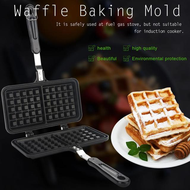 Dual Head Keuken Gas Non stick Wafelijzer Pan Mould Mold Pers Plaat Bakken Tool Bubble Ei Taart Oven ontbijt Machine