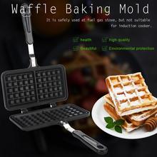 Máquina para hacer gofres antiadherente de Gas de cocina de doble cabezal, molde para sartén, placa de prensa, herramienta para hornear, horno de masa semiesférica, máquina de desayuno