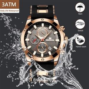 Image 3 - MEGALITH אופנה הכרונוגרף גברים שעונים תאריך סיליקון רצועת ספורט קוורץ שעון גברים זוהר עמיד למים שעון Relogio Masculino