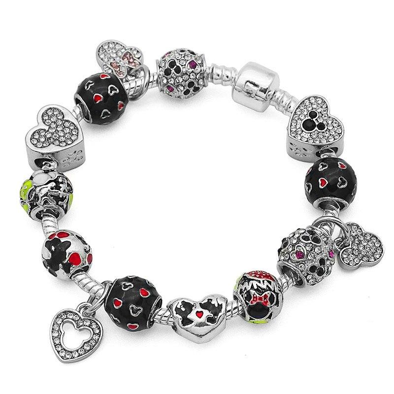Authentic Silver Mickey Minnie Beads Original Charm Bracelet For Women Fine Jewelry European Pandora Bracelets Christmas Gifts