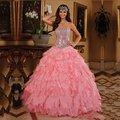 Nova Rosa Quinceanera Vestidos Vestidos De Quinceanera 2017 Vestidos de Baile De Debutante Frete Grátis Custom Made Sweet 16 Vestidos