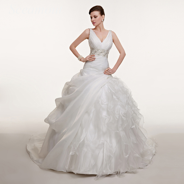 Brautkleider Taft | Brautkleider Taft Drapierte Falte Tiered Perlen Ballkleid V