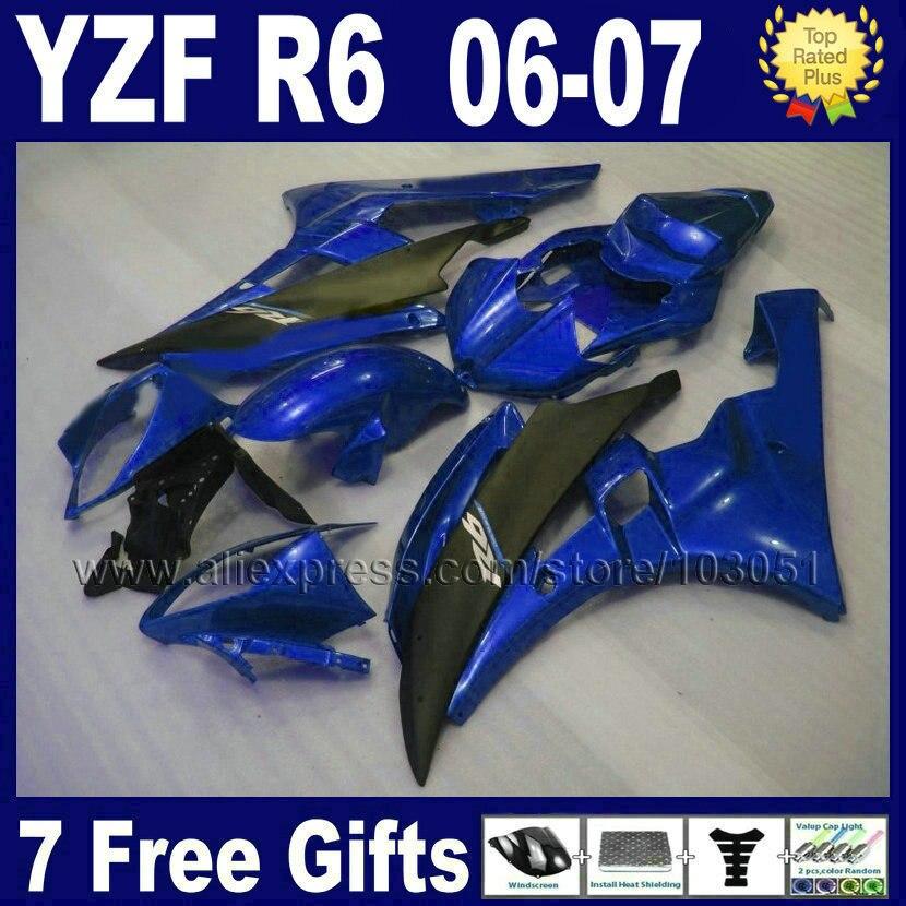 Пользовательские впрыска дорога мото гонки обтекатель для Ямаха YZF R6 в 2006 2007 YZFR6 06 07 YZF600 синий черный кузов обтекатель комплект