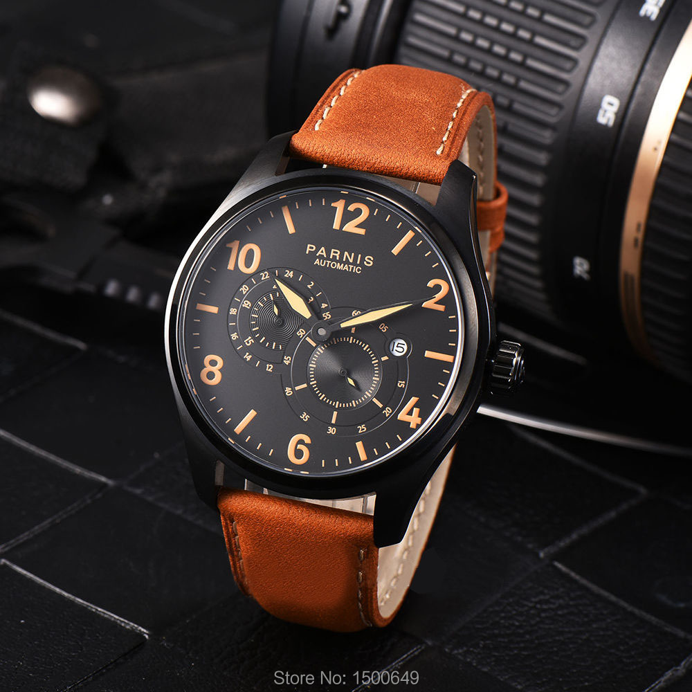 Parnis Miyota 8219 automatyczne mechaniczne 44mm mężczyźni zegarek na rękę 24 godziny mały druga w Zegarki mechaniczne od Zegarki na  Grupa 3