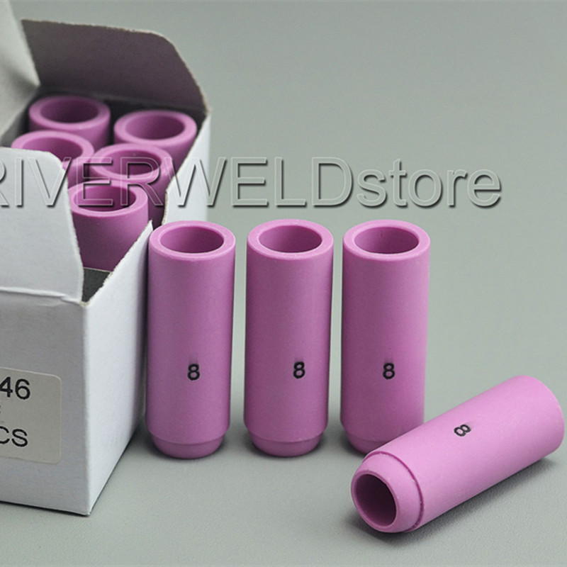 TIG Gas Lens Alumina Nozzle 53N61S 8# Fit PTA DB SR WP 9 20 24 25 TIG Welding Torch 10pk RIVERWELDstore WP-9 WP-20 WP-25 WP-24