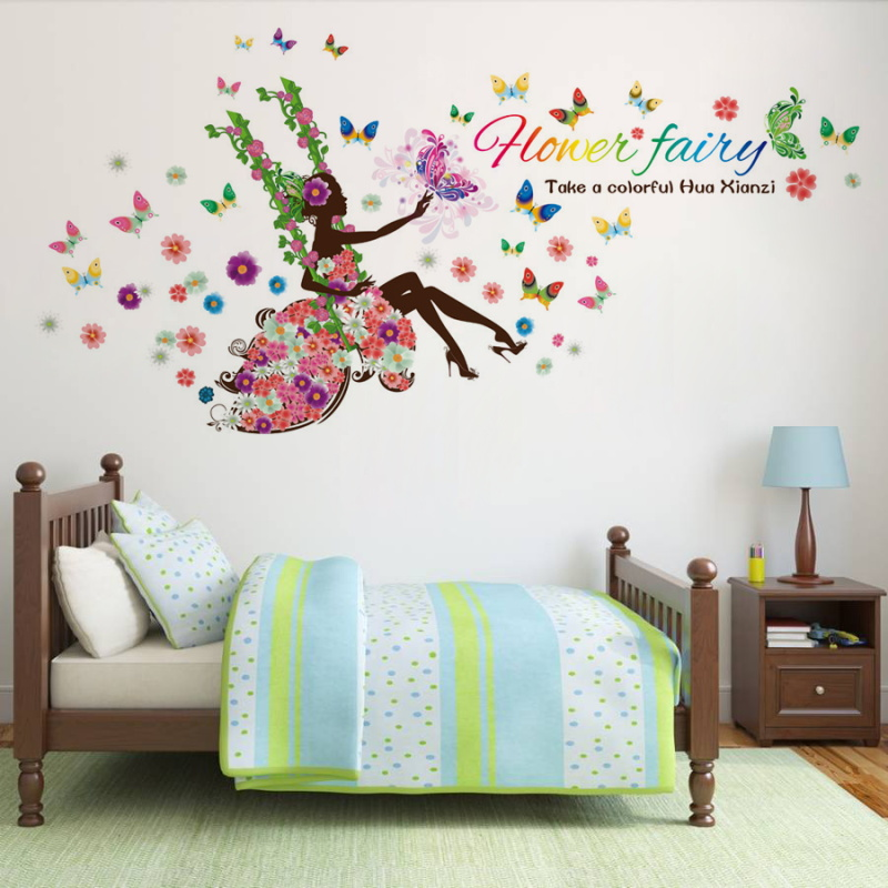 Colorful butterfly fairy tale flower girl princess kids for Fairy princess bedroom ideas