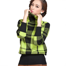 woman turtleneck sweater casual 2016 New winter autumn Korean style women s bottoming slim plaid knitted