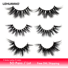 LEHUAMAO 50Pairs/Lot Eyelashes 3D Mink Lashes Fluffy False Dramatic Soft Cruelty Free Makeup Lash E Serie