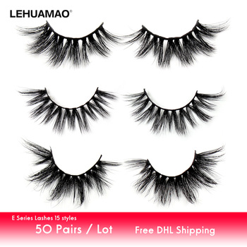 LEHUAMAO 50Pairs/Lot Eyelashes 3D Mink Lashes Fluffy False Eyelashes Dramatic Soft Lashes Cruelty Free Makeup False Lash E Serie