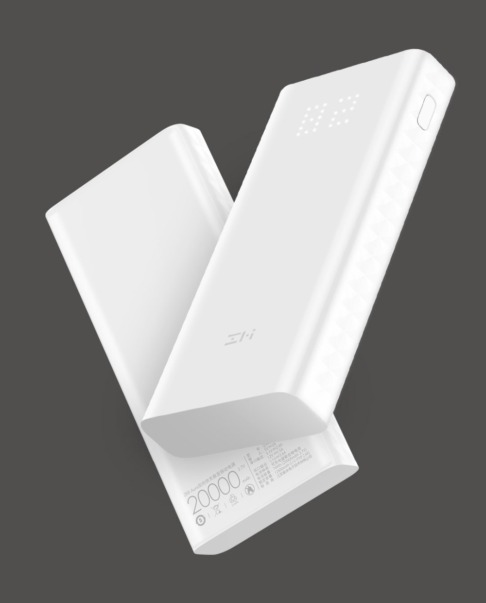 2018 Xiaomi ZMI Power Bank QB821 20000mAh Power Digital Display QC3.0 Fast Charging Dual USB 20000 mAh Powerbank for Smartphone аккумулятор xiaomi zmi power bank aura qb821 20000mah white