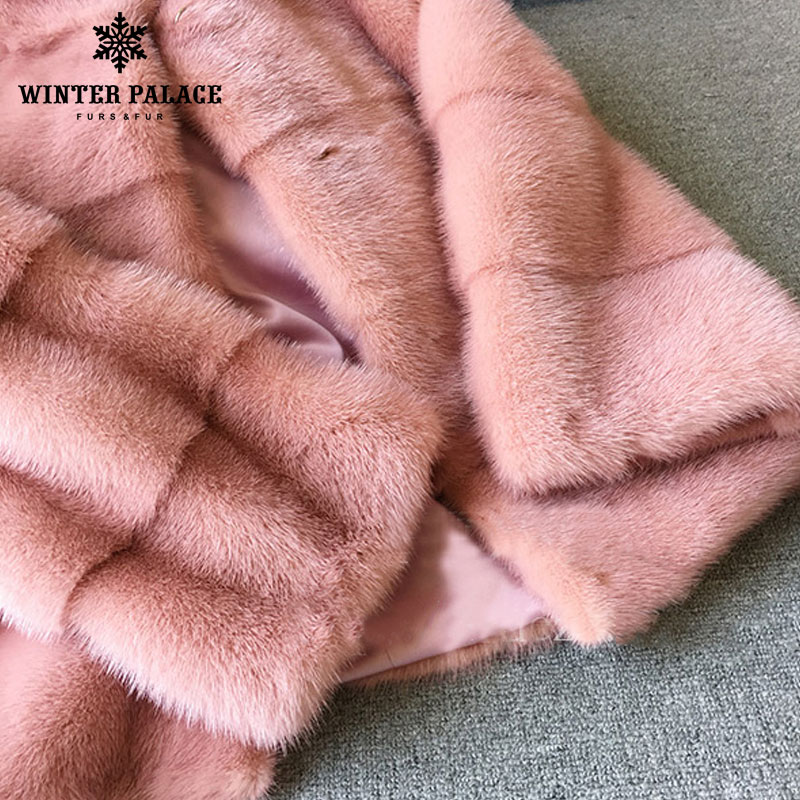 Image 5 - 2018 winter New style  fur cat natural mlnk stand Collar good quality mlnk fur coat 60 cm long coats of fur Fashion Slim Fur