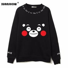 XUANSHOW Fashion Kpop Bangtan Boys Fans Clothing Cartoon Kumamoto Bear Printed Fleece Sweatshirts Hoody Harajuku Kawaii Hoodies