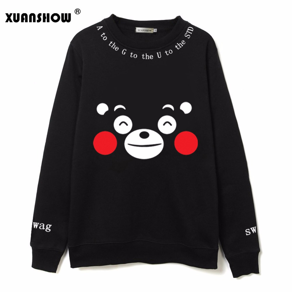 XUANSHOW Fashion Kpop Women Clothing Cartoon Kumamoto Bear Printed Fleece Sweatshirts Hoody Harajuku Kawaii Hoodies