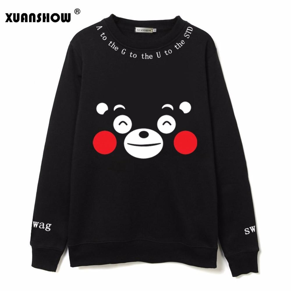 XUANSHOW Fashion Kpop Women Clothing Cartoon Kumamoto Bear Printed Fleece Sweatshirts Hoody Harajuku Kawaii Hoodies