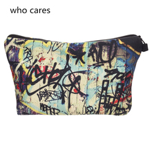 Who Cares New Cosmetic Bag 3D Printing tags Neceser Portable Make Up Bags Case Organizer Bolsa feminina Travel Toiletry Bag