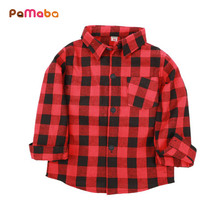 PaMaBa Boys Plaid Shirts in Red Blue White Fashion Kids Roll up Blouses Spring Autumn Winter Clothes Cotton Child Pocket Shirts girls plaid blouse 2019 spring autumn turn down collar teenager shirts cotton shirts casual clothes child kids long sleeve 4 13t