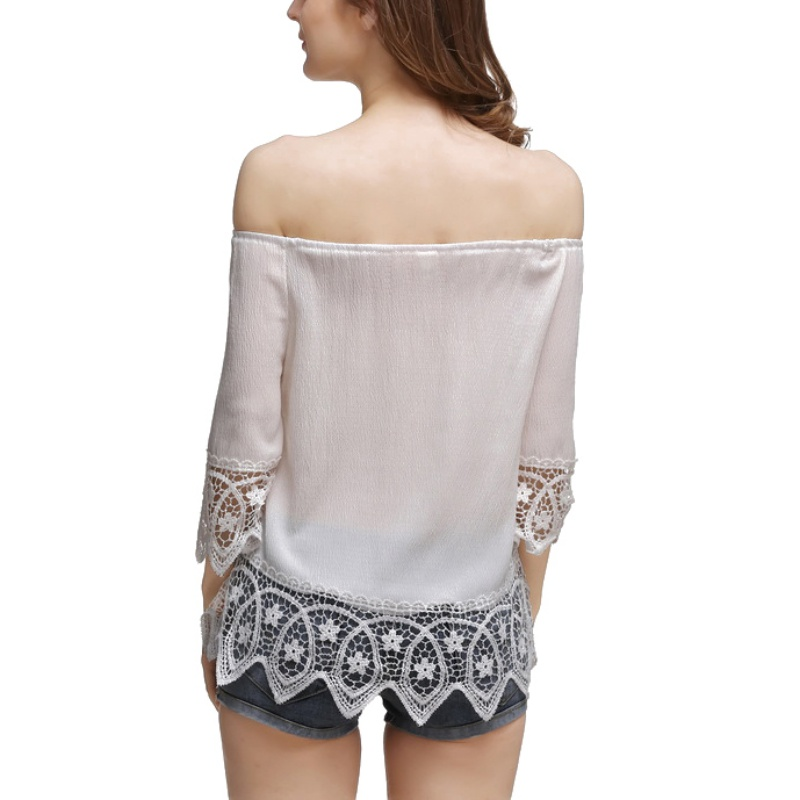 Sexy off shoulder blouse shirt Spring backless womens tops Slim elegant beach blouse blusas in Blouses amp Shirts from Women 39 s Clothing