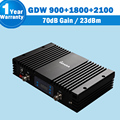 Great Power Amplifier Tri Band 900 1800 2100 mhz Celullar Repeater Cellphone Signal Booster 70dB kw23f-gdw 900 gsm repeater 3g17