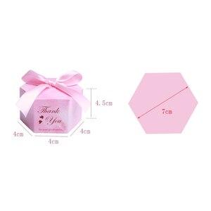 Image 5 - 50/100 rosa Starry Sky Hexagon Candy Boxen Hochzeit Baby Dusche Geschenk Boxen Danke Schokolade Boxen Weihnachten Party Decoraions