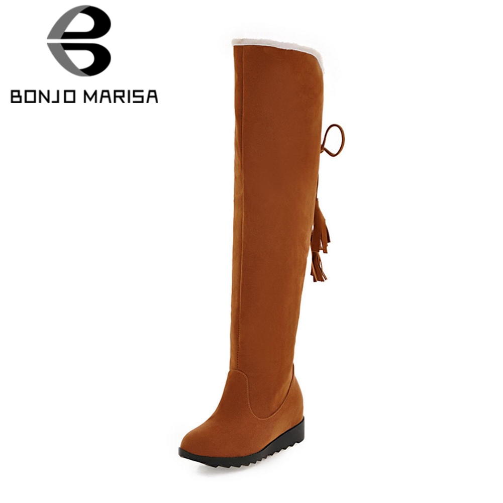 BONJOMARISA 2019 Winter Big Size 34-43 Two Styles Women Knee High Snow Boots Casual Wedges Fur Boots Rubber Sole Shoes Woman