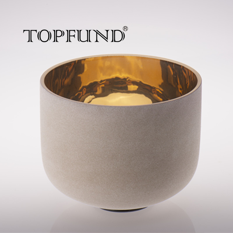 TOPFUND Pure Gold Plated Frosted Chakra Crystal Singing Bowl 8
