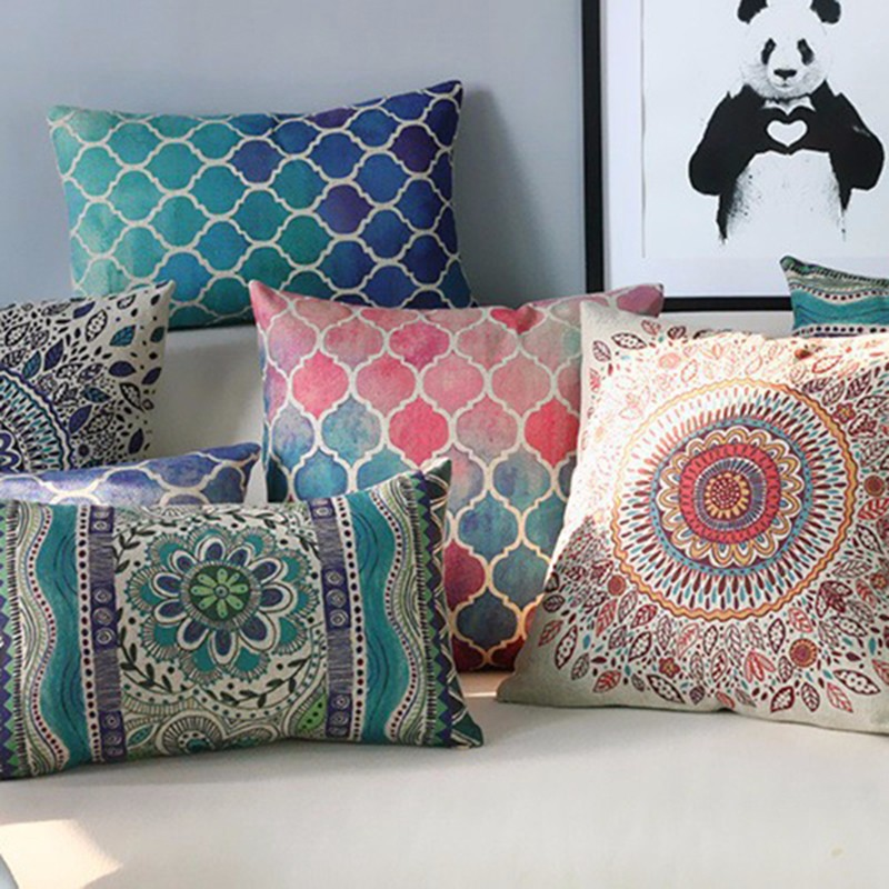 Free Shipping Fashion Bohemian Ethnic Geometric Throw Pillow Almofadas Case  Modern Decorative Cotton Linen Cushion Cover