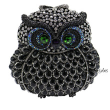 New Owl Clutches Small Animal Clutch Bags for Womens Wedding Prom Dinner Party Rhinestone Owls Crystal Evening Bags