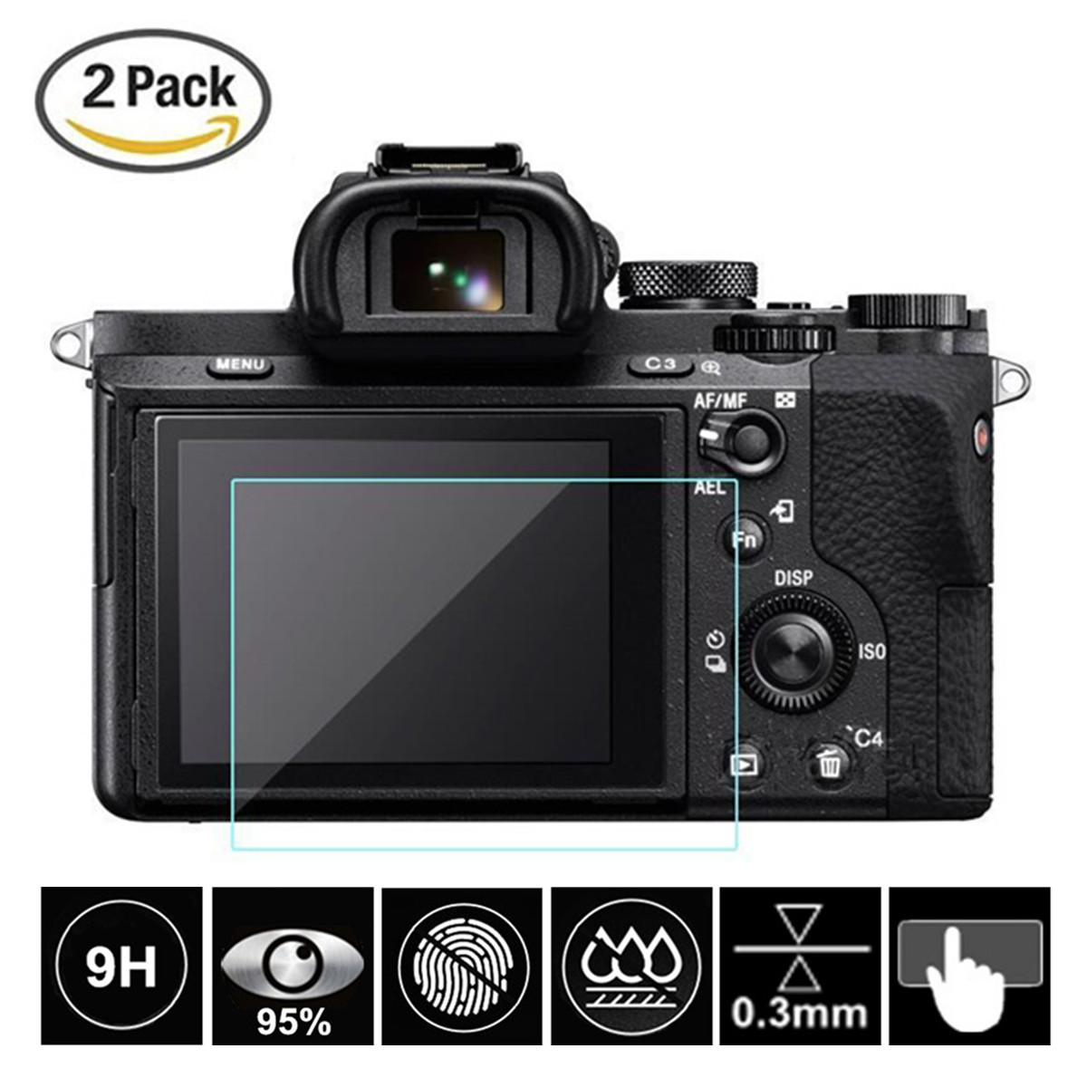 2Pcs Tempered Glass Screen Protector For Sony Alpha A6300 A6000 A5000 A99II A9 A7 II A7III A7RII A7SII RX10 RX100 II III IV V VI