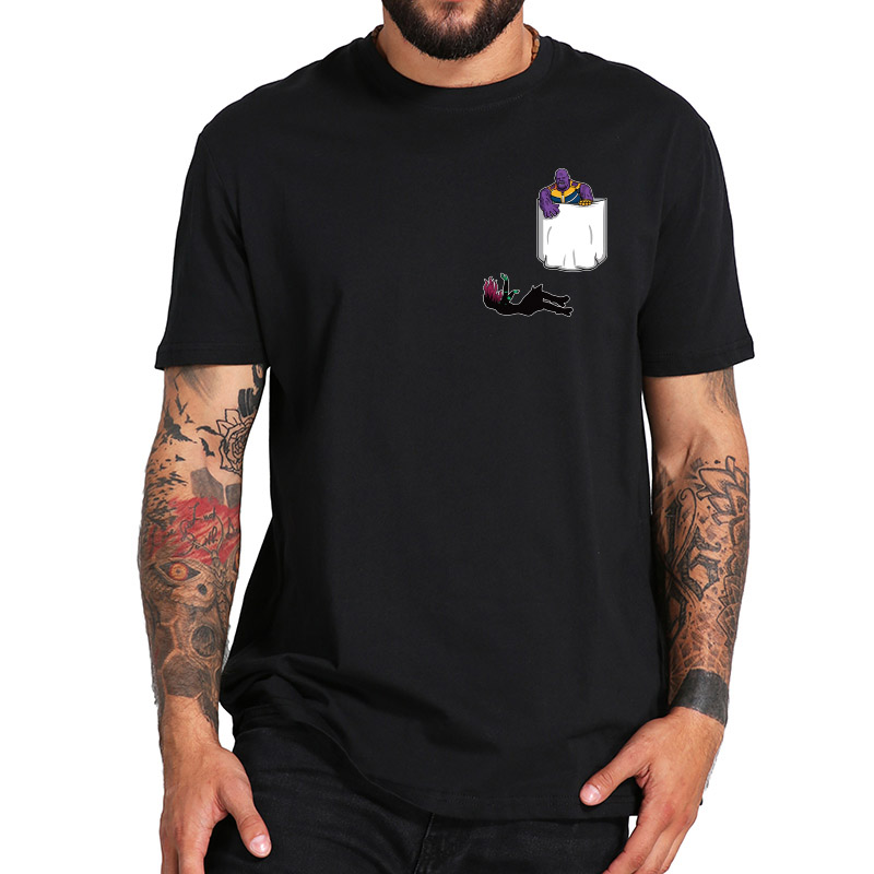 Pocket Shirts Thanos My Daughter Creative Design Cotton T shirt Black Titan Hero Infinity Anime Camiseta US Size