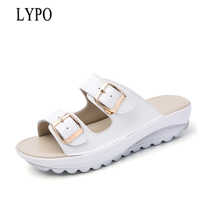 LYPO Comfortable women slippers fashion genuine leather flip flops women shoes summer women open toe wedges beach sandals
