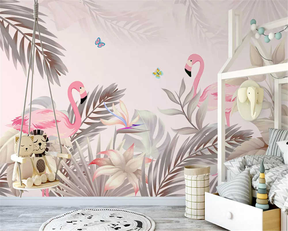 beibehang Modern personality papel de parede 3d wallpaper hand drawn nordic tropical palm tree plant flamingo indoor background