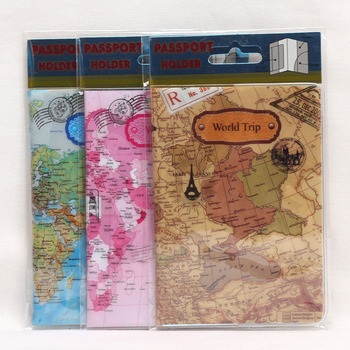 OKOKC PVC World Map Flat Print  Passport Cover Leather Travel Ticket Pouch Packages Passport Holder Travel Accessories