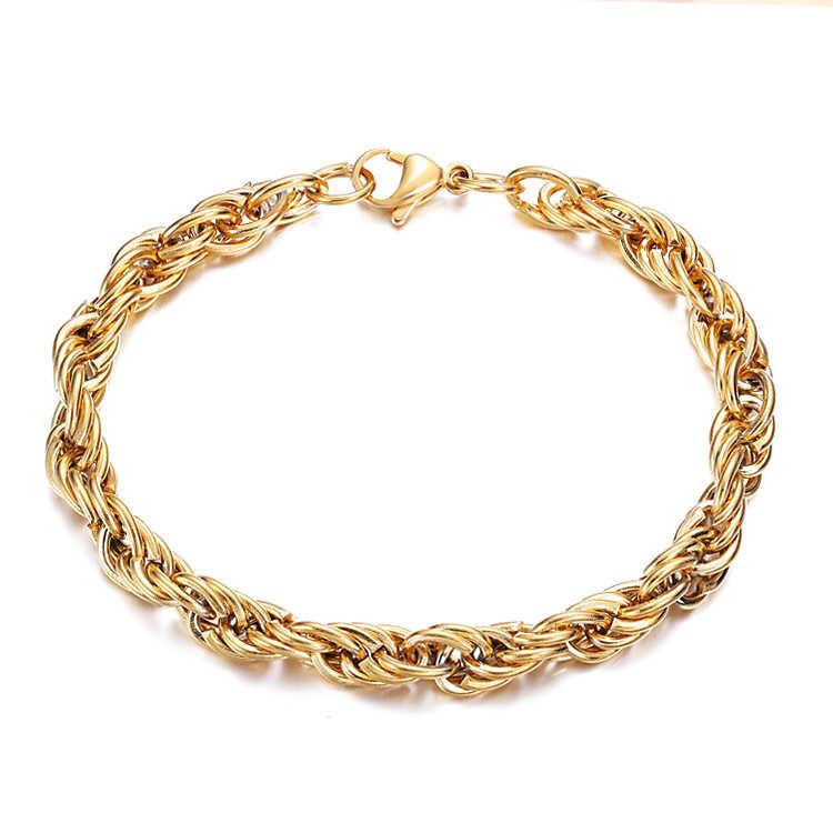 Pulsera color oro de soga Cadena Bisutería