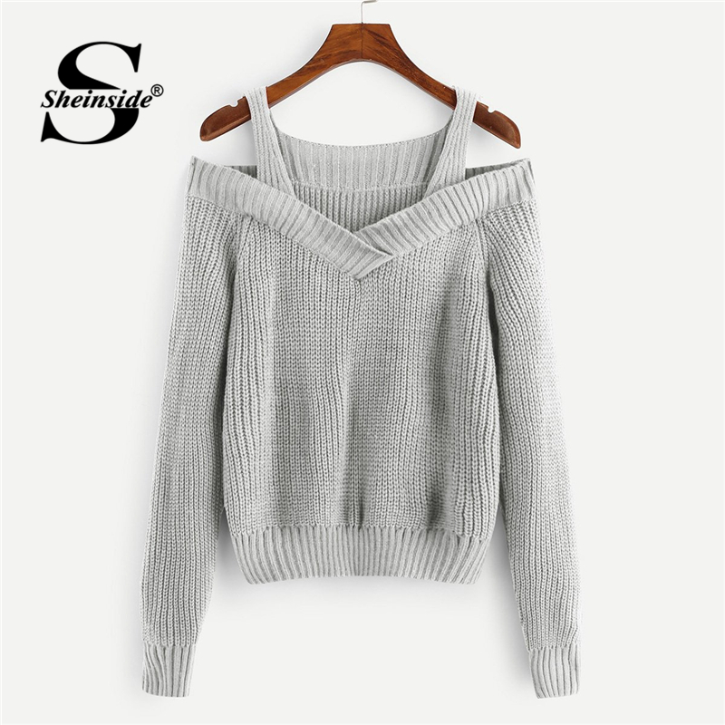 Sheinside Casual Grey Cold Shoulder Solid Sweater Straps Neck Long Sleeve Pullovers 2018 Autumn Winter Women Streetwear Sweaters