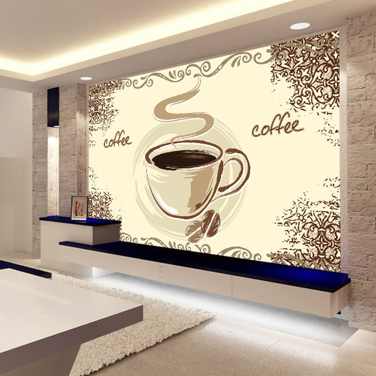 Buy coffee cup wallpaper custom 3d wall for Cafe mural wallpaper