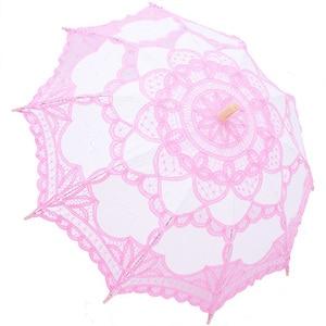 Image 3 - 우아한 코 튼 자 수 레이스 파라솔 야외 여름 태양 우산 웨딩 장식 사진 신부 들러리 우산
