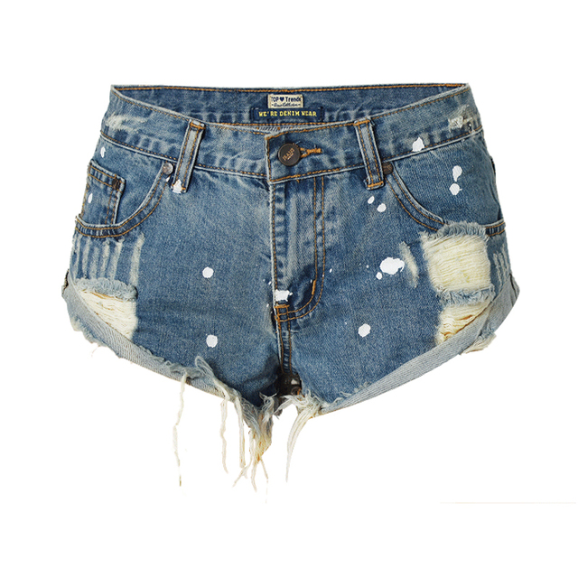 Sexy Tassel Ripped shorts jeans Vintage white paint Mid waist punk demin shorts 2017 Summer women hot shorts Plus Size