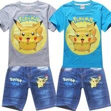 New 2017 Boys Clothing Sets Pokemon Go Short Sleeve T-Shirt+Jeans Set Summer Boys Girls Cartoon Pikaqiu Baby Sports Suit Three-10Y