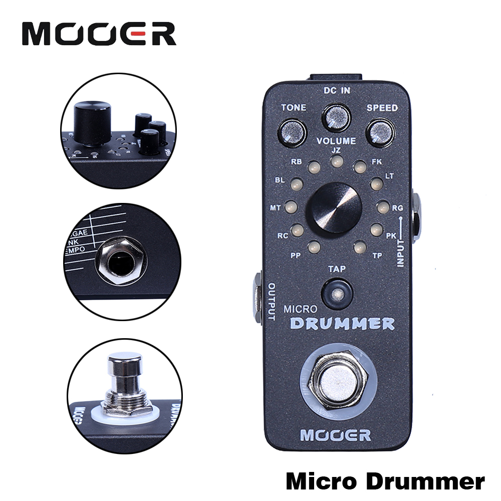 Mooer Mini Drummer Guitar Effect Pedal With 121 Drumbeats Digital Automatic Drum Machine Guitarra Accessory mooer ensemble queen bass chorus effect pedal mini guitar effects true bypass with free connector and footswitch topper