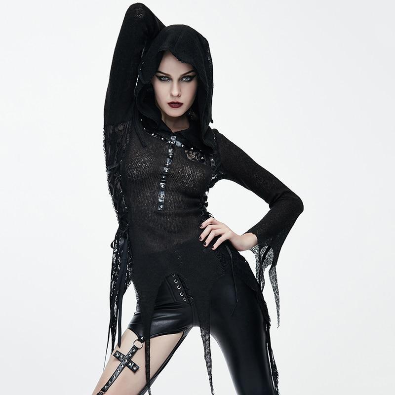 Steampunk femmes noir Sexy Rivet avec à capuche à manches longues T shirts printemps automne mode moulante mince haut pour femme t shirt - 2