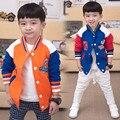Дети толстовки дети 2017 осенью и зимой фуфайка мальчики девочки ребенок флис бейсбол равномерное V-образным Вырезом верхняя одежда
