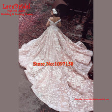 Luxury Super Royal Pink Ball Gown Floral Lace Wedding Dresses 2016 with Sleeves Cathedral Train Deposit Long Bridal Gowns LW9