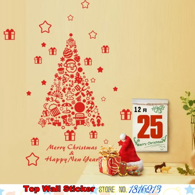 Creative DIY Home Christmas Wall Sticker Decoration Xmas Tree Stars ...