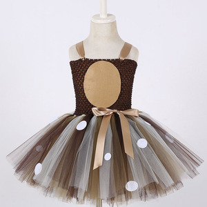 Image 2 - Girls Reindeer Dress Up Costumes Children O neck Pattern Solid Dress Christmas Birthday Party Kids Dresses for Girls Ball Gown