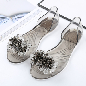 Image 5 - SWYIVY פלסטיק נעלי גומי גביש דירות נעלי 2018 אישה נעליים יומיומיות קיץ חוף סנדלי ליידי נוח פה רדוד דירות