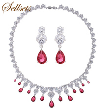 Sellsets Fashion Statement Necklace Earring Jewelry Sets  Top AAA Pink Blue Cubic Zirconia Wedding Jewellery Set