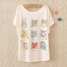 Batwing Sleeve 3d print funny owl America apparel harajuku kawaii punk Cotton tumblrt tee t shirt women femme camisetas mujer