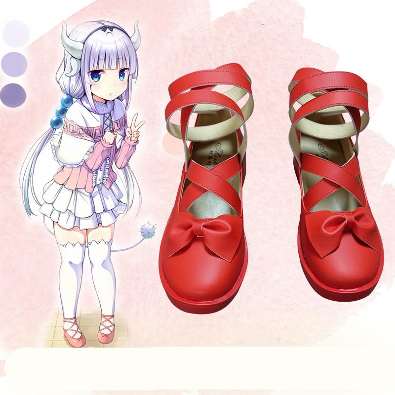Japanese Kobayashi-san Chi no Maid Dragon Kanna Red shoes with bowknot Comic Kanna Cosplay Red Girl Lolita shoes large size