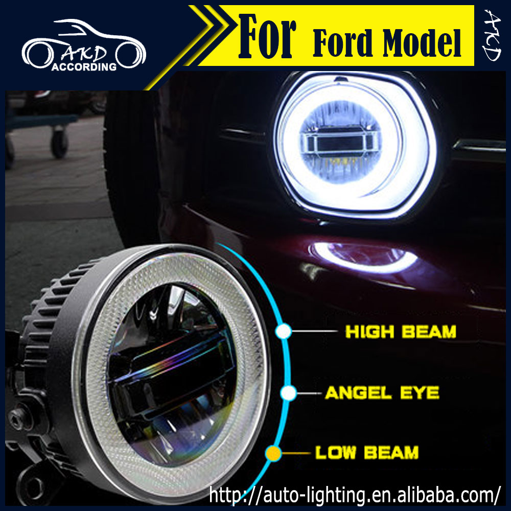 AKD Car Styling Angel Eye Fog Lamp for Ford Flex LED Fog Light Fiesta LED DRL 90mm high beam low beam lighting accessories 1 pcs diy car styling new pu leather free punch with cup holder central armrest cover case for ford 2013 fiesta part accessories